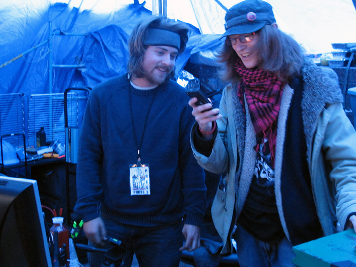 Zucatti Media Command Tent, Nate Grant left, Collin right