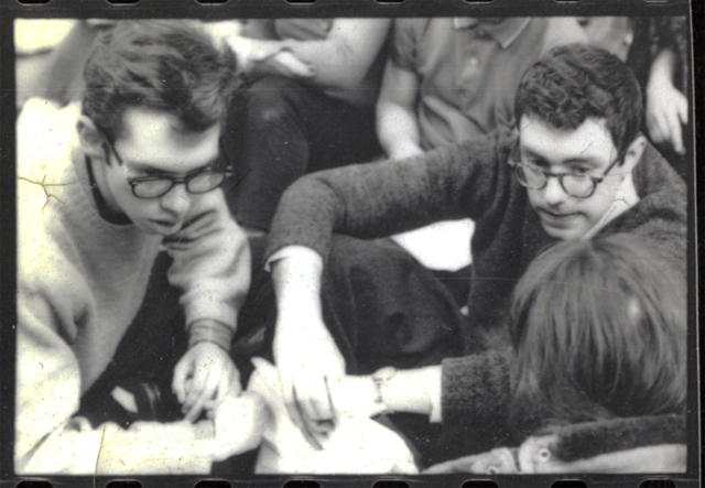 At the University of Chicago sit-in. Bernie, on the right, Bob Brown on the left, winter 1962.