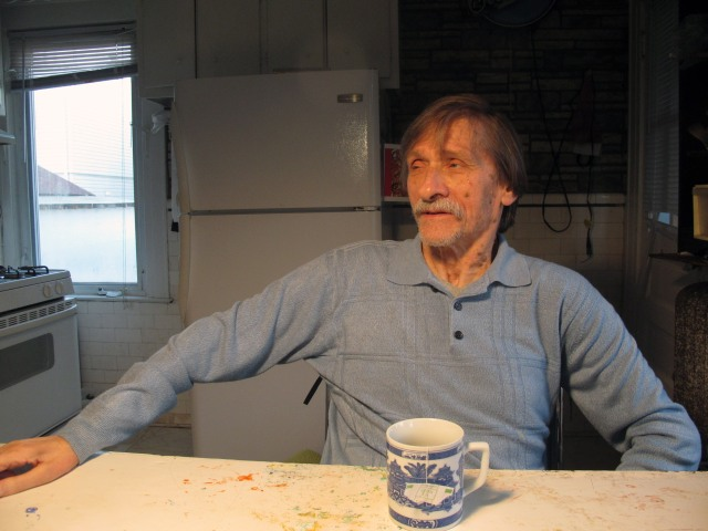 Lenny Contino at his work table in Queens, 2014.